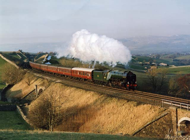 Blue Peter in action. 60532 approaches Birkett Common on the Settle and Carlisle Railway, 6th March-1993. - Dave Whitfield.
