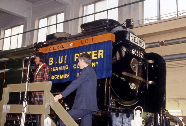 Overhaul complete. BBC Blue Peter presenter Diane Louise Jordon, assisted by NELPG chairman Maurice Burns, at the Blue Peter renaming ceremony inside No 5 depot, ICI Wilton, 11th December 1991 - Colin Smith