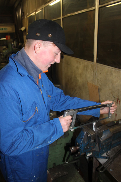 Will Harrison busy with his hacksaw training at Grosmont MPD, 19th November 2016 - Tom Noble