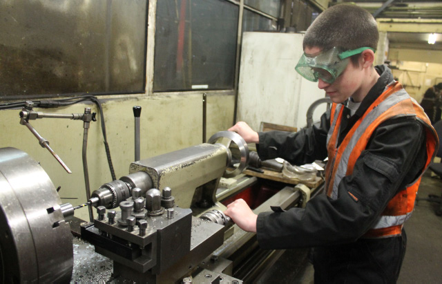 Ethan working on the lathe at MPD Grosmont and supervised by William Parrish on 19th November 2016 - Tom Noble