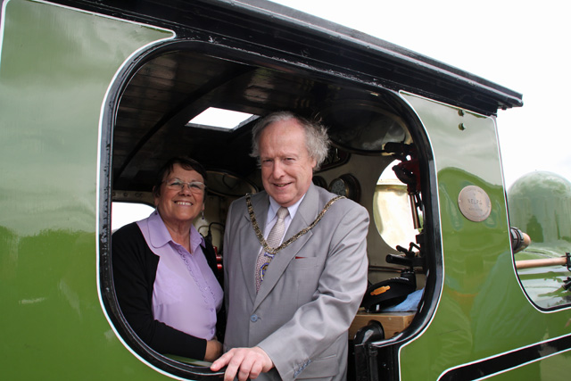 Councillor Denis Morgan (Vice Chairman of Durham County Council) and Councillor Eunice Huntington visit the footplate