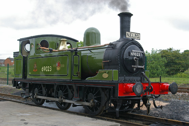 The J72,lined out and varnished, simmers over the Locomotion pit prior to the days events.