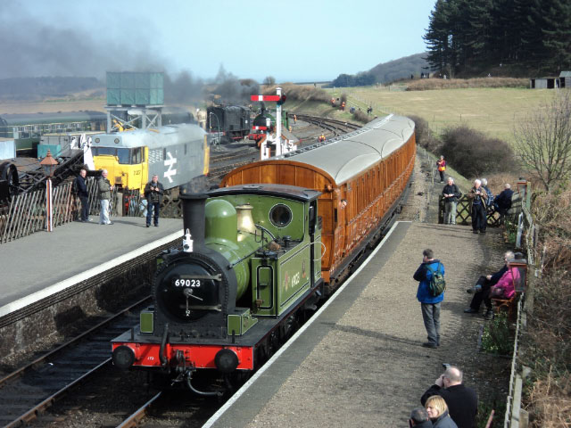 J72 arrives at Weybourne station on the North Norfolk Railway
