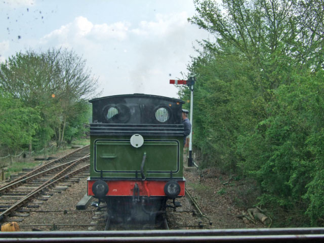 Looking through the rear of the Pullman Gresley Carriage as Joem backs onto the train - Sally Halls
