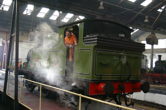 A happy man on the footplate of Joem on the turntable at Barrow Hill (13 April 2012) - Chris Lawson