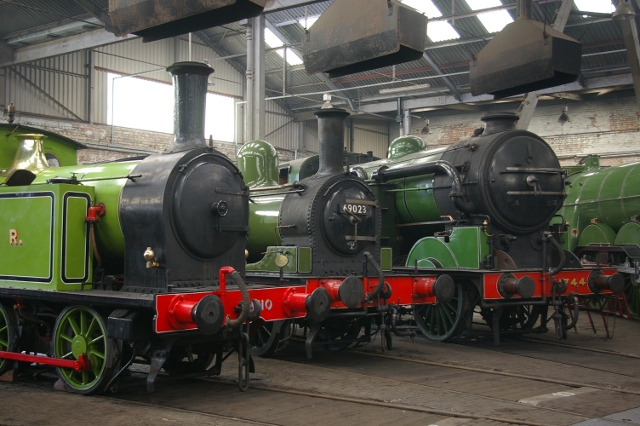Joem in the Roundhouse at Barrow Hill flanked by the Y7 (H3) 1310 from the Middleton Railway and N7 1744 from the Great Central Railway (13 April 2012) - Chris Lawson