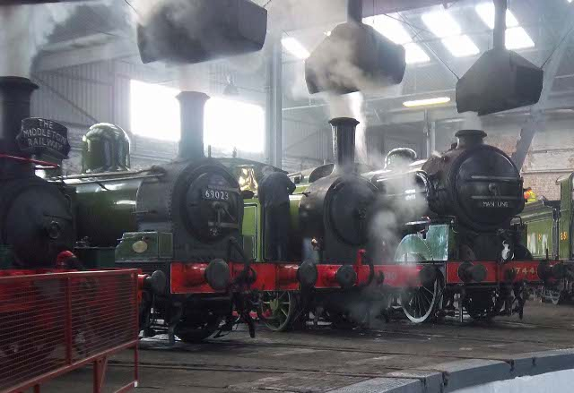 In roundhouse both of those locos and the front of 'Sir Berkley' in the foreground and the Ivatt Large Atlantic (No 251) in the background - Peter Shields