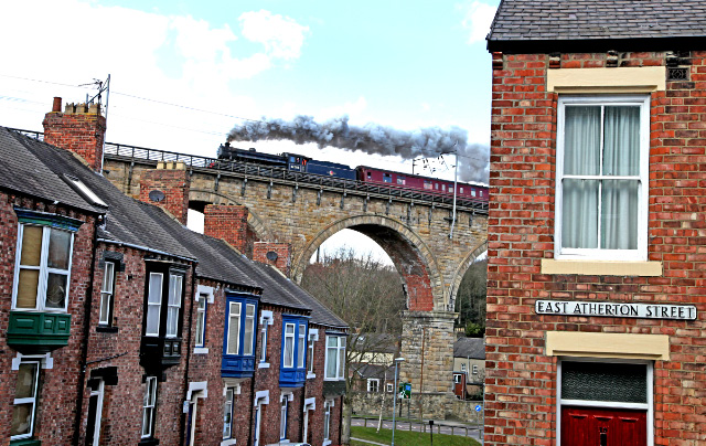 The K1 crosses Durham Viaduct, the scene of the Blue Peter disaster 19 years ago - Maurice Burns