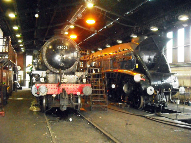 After removal of the regulator valve, the K1 and an open mouthed Sir Nigel Gresley lurk in the Grosmont running shed on 16th April - John Midcalf