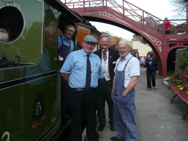 Alan Whitehouse (fireman),Simon Prince (guard), Chris Lawson and Terry Newman pose as a motley crew! - pp Terry Newman