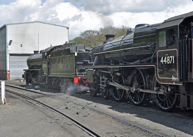 62005 and 44871 make their way to the water column prior to leaving Grosmont shed - Colin Smith
