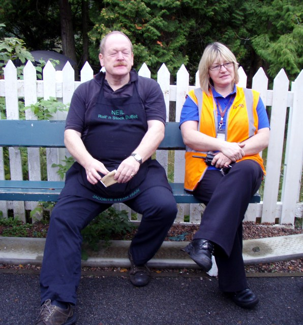Catering manager  Neil and Guard Florence at Glenfinnan whilst passengers were away at the museum - Nigel Hall