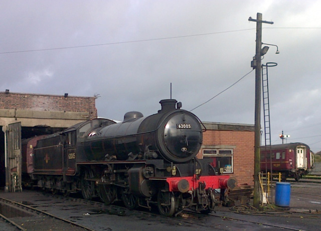 The K1 stands on the Carnforth ash pit on Sunday morning after it's return trip - Rowland Bingham