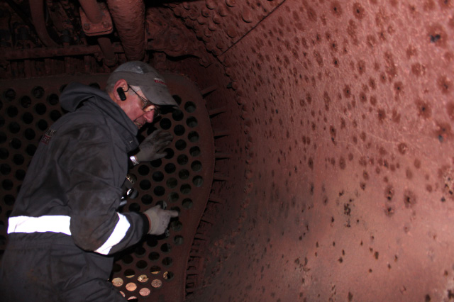 Inspecting the inside of the boiler barrel - Neal Woods