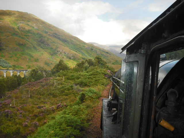 Aproaching Glenfinnan Viaduct, the view from behind the driver's position - John Midcalf