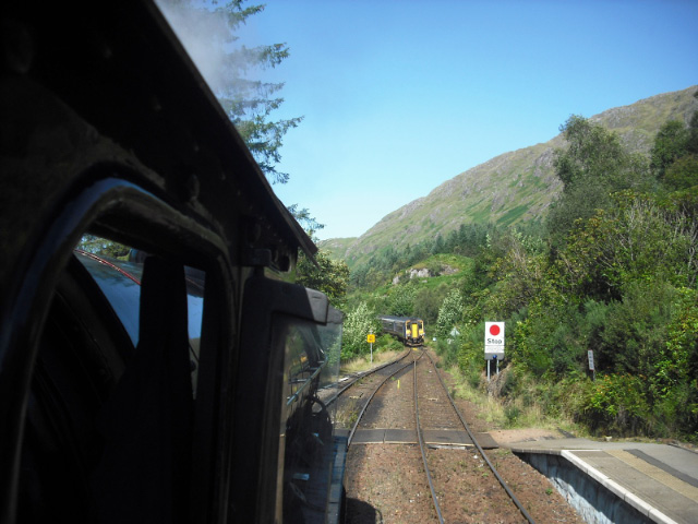 Sprinter from Mallaig eapproaching Glenfinnan from fireman's window  - John Midcalf