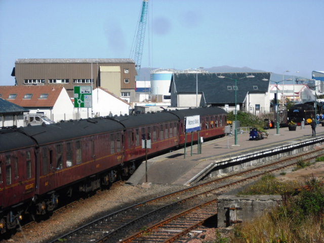 At Mallaig, the coaches are first set back, then 62005 runs around - John Midcalf
