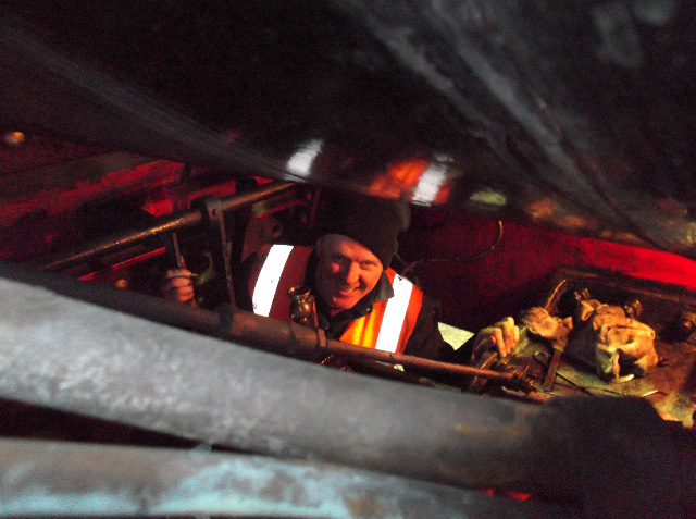 Alan Hardie on his first NELPG working party cleaning round the reverser- Darrin Crone