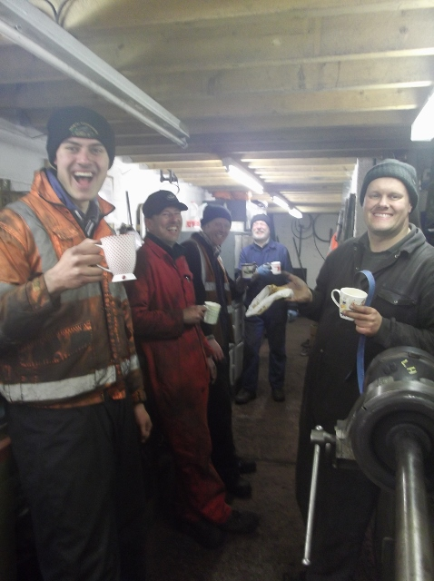 Saturday team James Pearcy, Andy Lowes, Alan Hardie, Brian Armstrong and Neal Woods taking a tea brake in the luxurious surroundings of the NELPG workshop discussing who will get the last piece of Mrs Andy Lowes ginger cake - Sarrin Crone