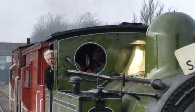 Driver Fred Ramshaw bringing the train to a halt at the Collection station - Ian Corduex