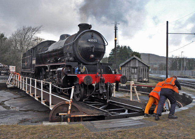 The K1 being turned on the Carnforth turntable - Colin Smith