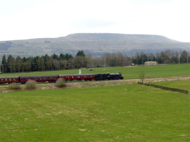 The K1 passes Preston under Scar with Pen Hill in the background- Terry Newman