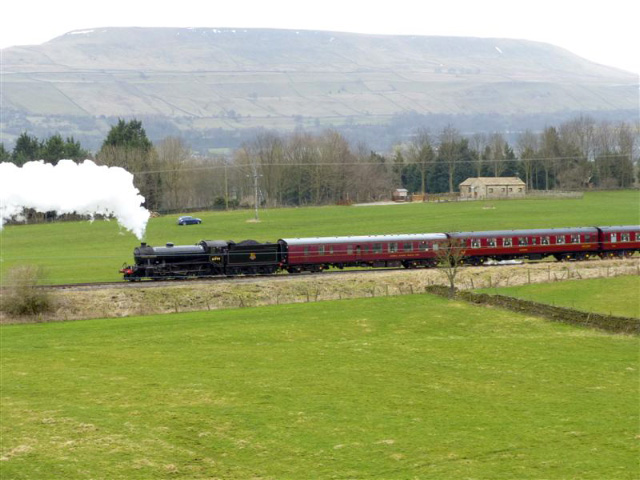 The K4 at the rear of the train at Preston under Scar - Terry Newman
