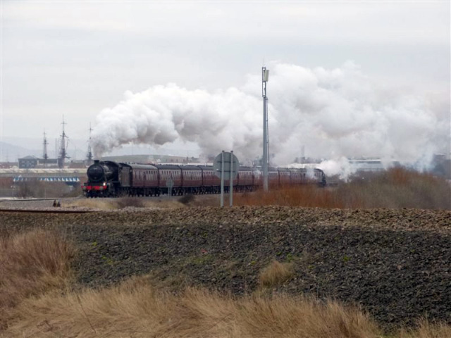 The K4 heads the train past Hartlepool Marina - Terry Newman