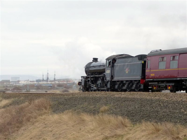 The K1 banks the train past Hartlepool Marina - Terry Newman