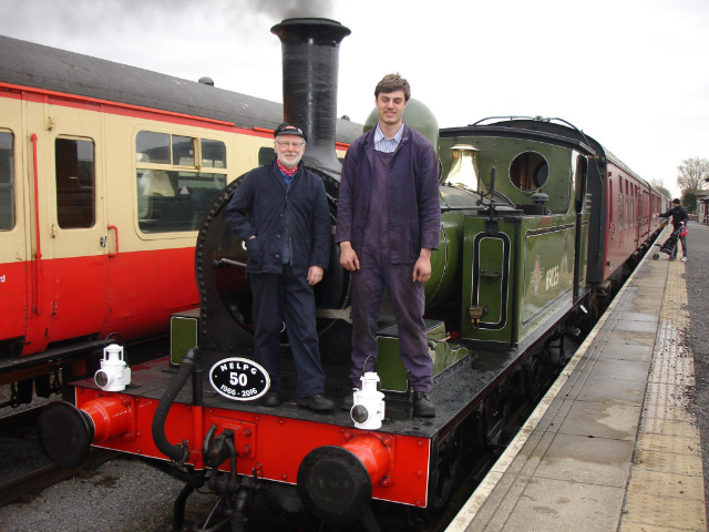 Driver Terry Newman and fireman James Piercy prior to departure on Easter Monday - Fred Ramshaw