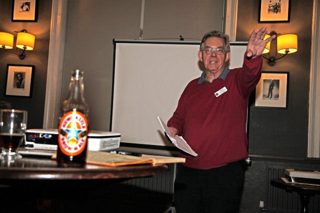 Friday 28th, Secretary Chris Lawson addresses the meeting - Maurice Burns