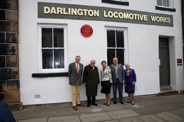 After Sir William had unveiled the plaque: Stephen Middleton (Transport Trust), Sir William McAlpine (President of the Transport Trust), Sue Snowdon (Lord Lieutenant for Co Durham) and the Mayor and Mayoress of Darlington (Councillor Brian Jones and Councillor Mrs Doris Jones BEM) - Maurice Burns