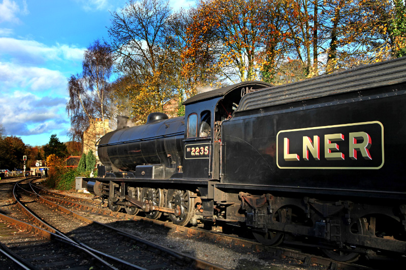 Prior to the night time filming the Q6 in its new film livery as LNER No 2235 basks in the autumn sunshine - Maurice Burns