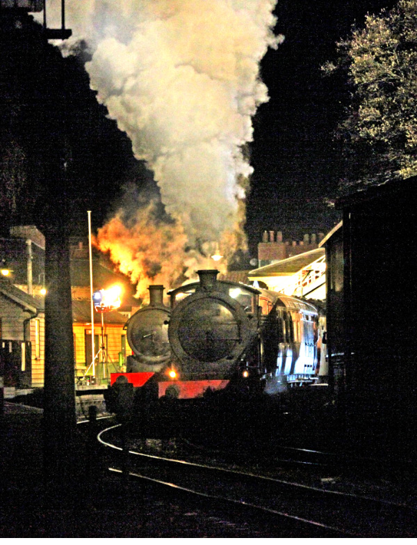 The J27 departs the station during the night time filming - Maurice Burns