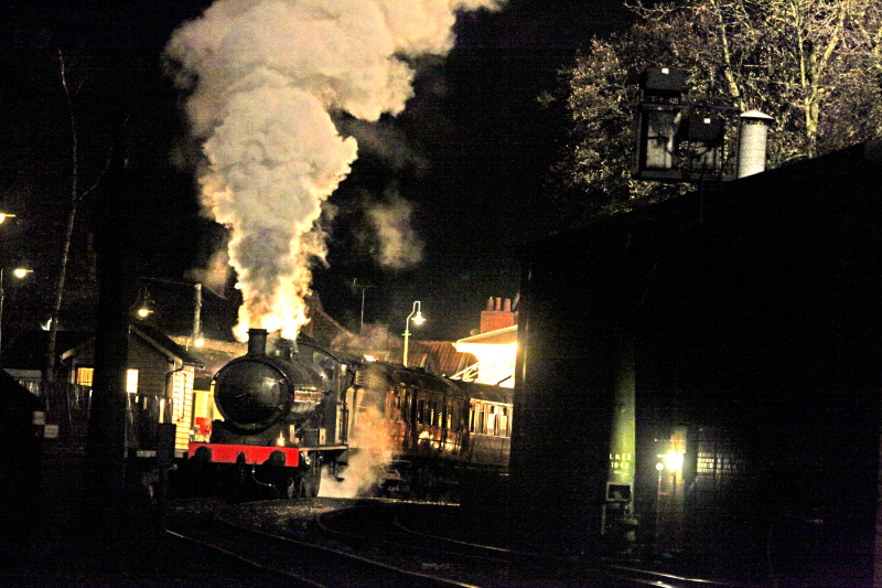 The Q6 makes a dramatic night time departure from Pickering station being transformed during the editing process into Kings Cross - Maurice Burns