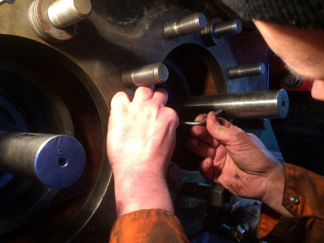 Neal Woods scribing the valve opening onto the tail rod - James Pearcy