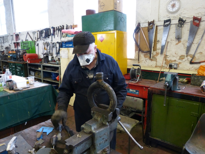 Derek Shorton cleaning the J72 blower ring - Terry Newman