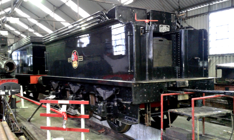 The J27 tender stands next to the Q6 tender inside Deviation Shed - Chris Lawson