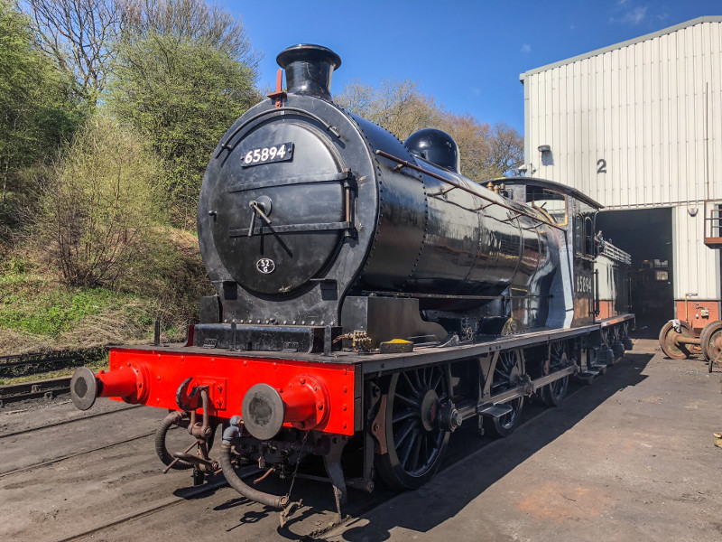 The J27, reunited with tender,stands on No.2 road outside the boiler shop - Adrian Dennis