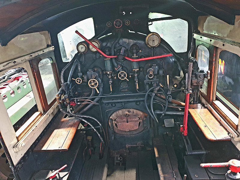 65894 cab interior minus right hand injector steam valve in Deviation Shed on 2 July 2020 - Chris Henwood.