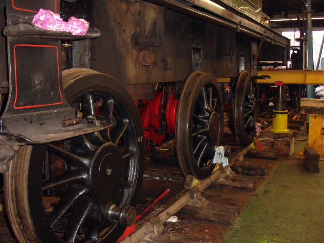 A view of all three wheelsets, still 6 inches to go before they can clear the front lifting beam and be rolled out - Fred Ramshaw