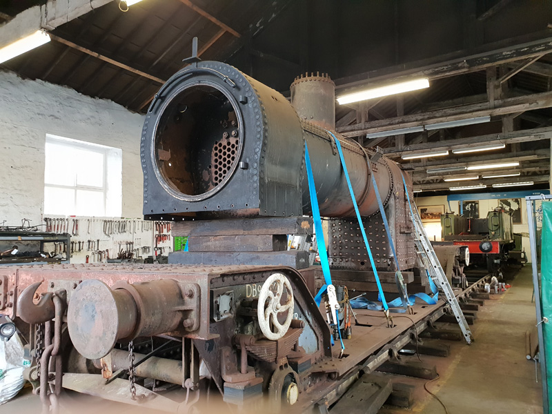 The boiler, partially cleaned and without the stubbon crinoline bars, awaits removal of the longitudanal stays - Nigel Hall