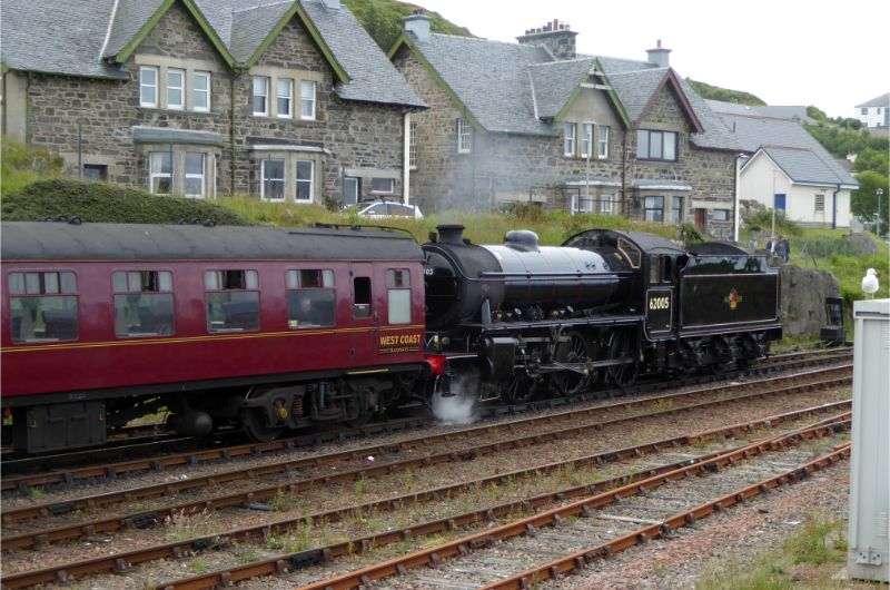 The K1 is awaiting departure from Mallaig on Saturday 6 July 2019. This was taken from on top of the Armco barrier on the road which runs alongside the station - Steve Hyman