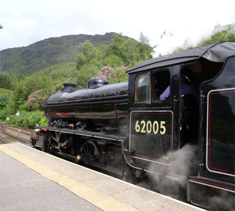 Driver Hunt awaiting the arrival of the sprinter from Mallaig at Glenfinnan - Arthur Jenkins