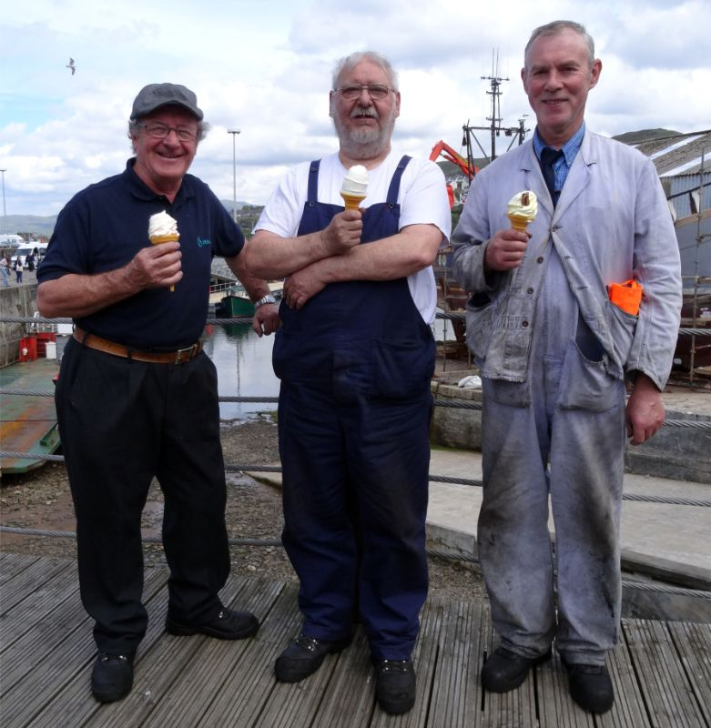 23rd Jun. End of week ice cream at Mallaig: Arthur Jenkins, John Midcalf and Jonathan Wilkinson - somebody with Arthur Jenkins camera