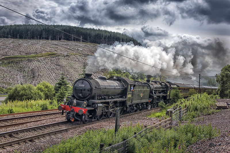 62005 climbing Beattock with the Jacobite ECS on its way to Fort William on 12 July 2020 - Brian Nunn
