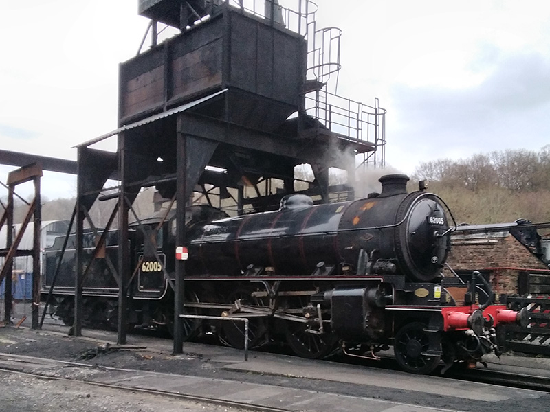 With the fire lit, the K1 stands on the pit under the coaling plant - Paul Hutchinson
