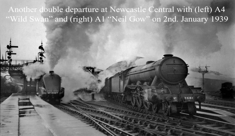A4 Wild Swan and A1 Neil Gow depart Newcastle Central