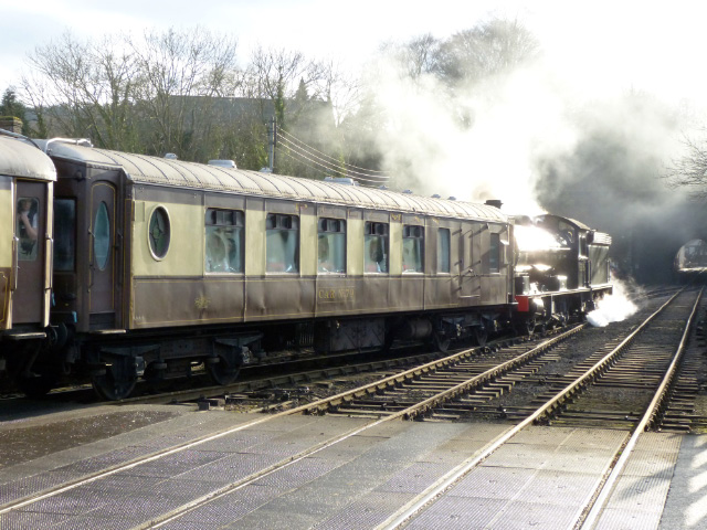 Saturday: arriving at Grosmont from Pickering on the back of the diner - Terry Newman