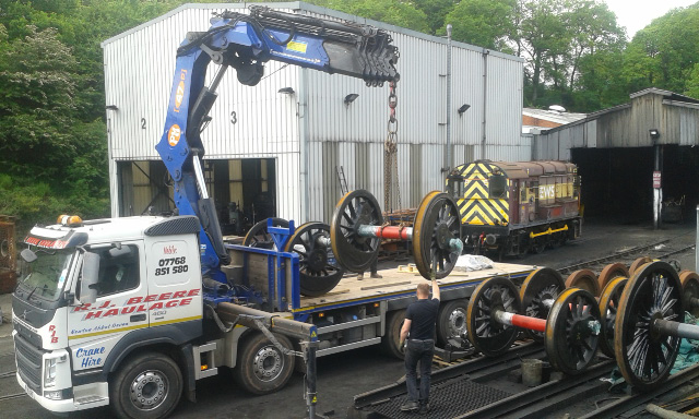 Loading up Q6 wheel sets at Grosmont for transport to South Devon Engineering - Chris Lawson
